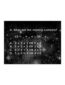 4th Grade ActivInspire 5 question assessment 4.OA.A.1 / 4.OA.1