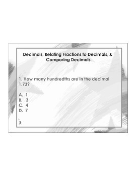 4th Grade ActivInspire 5 question assessment (Decimal Overview) 4.NF.C.5, 6, 7