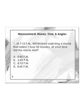 4th Grade ActivInspire 5 question assessment Measurement 4.MD.A.1, 2,3 + more