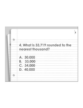 4th Grade ActivInspire 5 question assessment Place Value 4.NBT.A.1,2,3