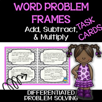 4th Grade Add, Subtract, Multiply Task Cards - Students Fi