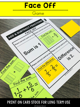 4th Grade Add and Subtract Fractions Games and Centers