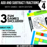 4th Grade Adding and Subtracting Fractions Games and Centers