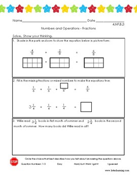 4th Grade - Adding Fractions and Mixed Numbers (w/ Student Self-Eval)