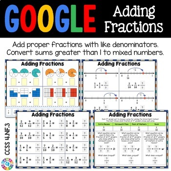 4th Grade Adding Fractions with Like Denominators {4.NF.3} Google Classroom