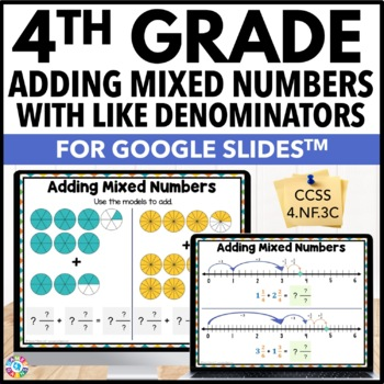 4th Grade Adding Mixed Numbers with Like Denominators {4.NF.3C} Google Classroom
