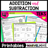 4th Grade Adding & Subtracting Whole Numbers and Decimals Printables