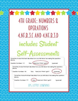 4th Grade - Adding and Subtracting Mixed Numbers w/ Student Self-Eval