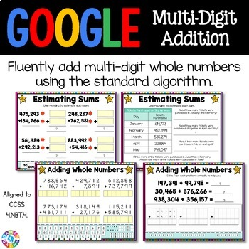 4th Grade Addition Digital Practice {4.NBT.4} - Use with Google Classroom