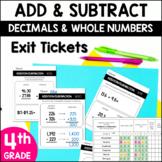 4th Grade Addition & Subtraction *Computation* Exit Slips