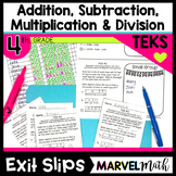 4th Grade Addition, Subtraction, Multiplication, Division TEKS Exit Slips Bundle