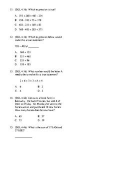4th Grade Addition/Subtraction Unit Test