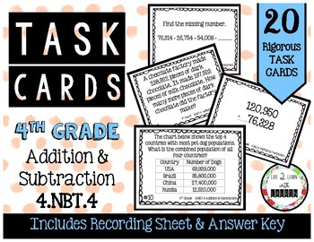 4th Grade Task Cards | Addition & Subtraction 4.NBT.4