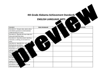 4th Grade Alabama Alternate Achievement Standards Checklist