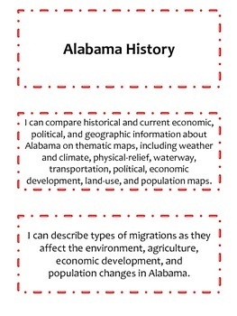 4th Grade Alabama History I Can Statements
