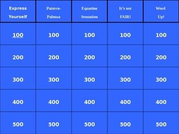 4th Grade Algebra Jeopardy