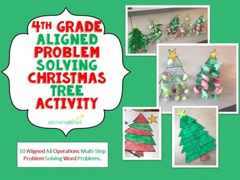4th Grade Aligned All Operation Multi Step Word Problems Christmas Activity