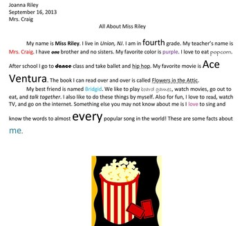 4th Grade All About Me Essay