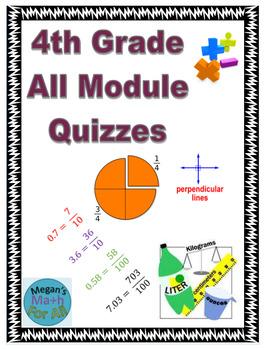 4th Grade All Module Topic Quizzes Bundle - Editable - SBAC