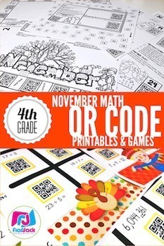 4th Grade All Year Long MATH QR Code Printables - Low Prep!