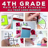 4th Grade MATH Worksheets and Centers with QR Codes Bundle - Low Prep!