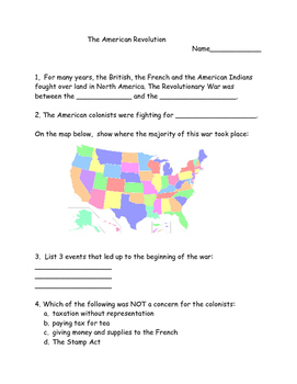 4th Grade American Revolution Assessment