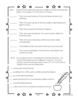 4th Grade American Revolutionary War Assessment (new revised standards )
