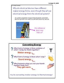 4th Grade Amplify Energy Conversions Chapter 2 (Complete) Grade 4