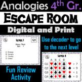 4th Grade Analogies: ELA Escape Room - English (Vocabulary Game)