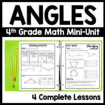 4th Grade Angle Mini Unit, 4th Grade Classifying & Measuring Angles Bundle