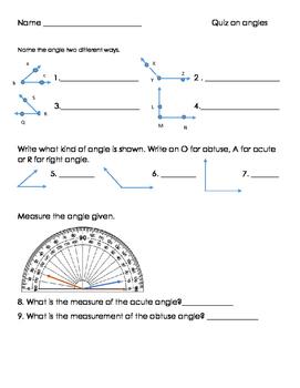 4th Grade Angle Quiz