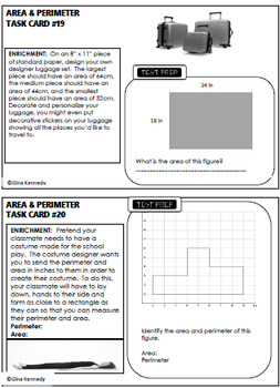 4th Grade Area & Perimeter, 30 Enrichment Projects and 30 Test-Prep Problems