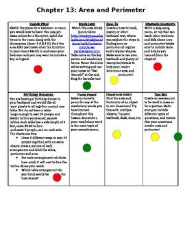4th Grade Area and Perimeter Choice Board