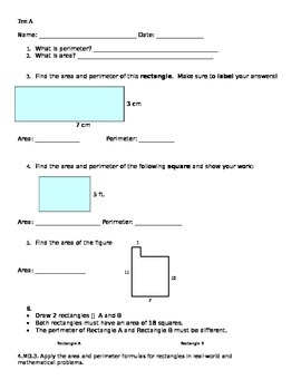 4th Grade Area and Perimeter Differentiatied Assessments