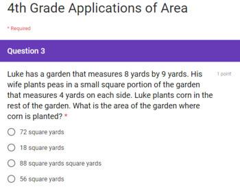 4th Grade Area and Perimeter Google Forms Assessments 2 Quick Checks