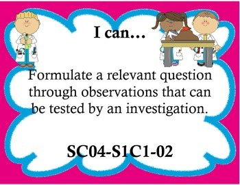 4th Grade Arizona Science Standards I Can Statements