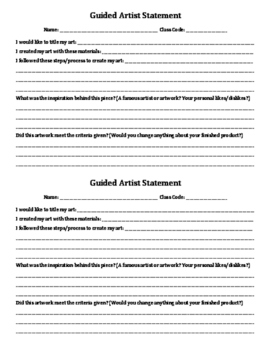 4th Grade Artist Statements
