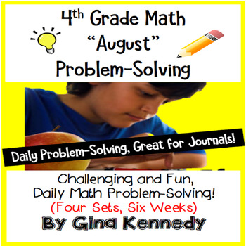 Daily Problem Solving for 4th Grade: August Word Problems (Multi-step)