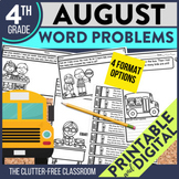 4th Grade August Word Problems printable and digital math