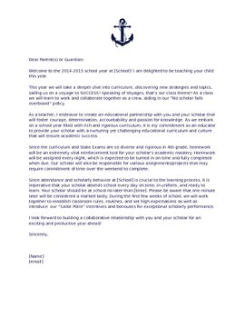 4th Grade Back To School Welcome Letter- Voyage Themed