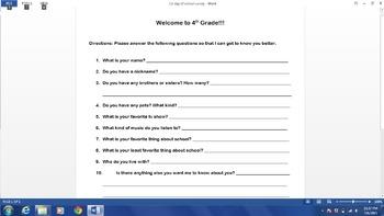 4th Grade Back to School Activity Bundle