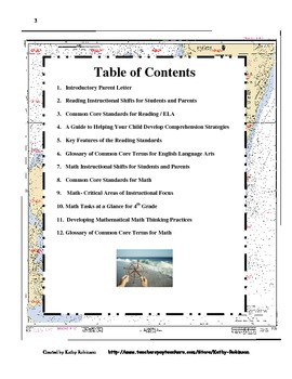4th Grade Back to School Parent's guide to Navigating the CCSS-56 Pages