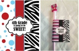 4th Grade, Back to School Gift - printable - zebra, red and blue