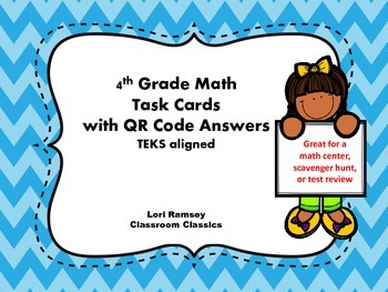 4th Grade Math Task Cards w/ QR Code Answers - Problem Solving