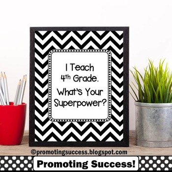 4th Grade Teacher Appreciation Gift, I Teach What's Your Superpower Poster