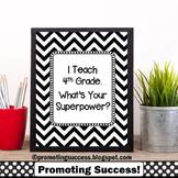 4th Grade Teacher Appreciation Gift Idea, Black & White Theme Superpower Poster