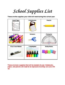 4th Grade Back to School Supply List, Donation, and Letter Home for Parents