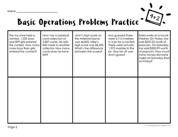 Word Problems 4th Grade Basic Operations