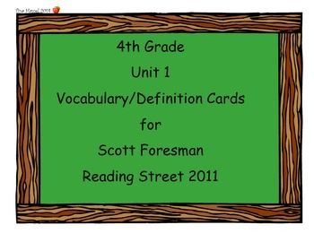 4th Grade Because of Winn Dixie Vocab Cards (Scott Foresman Reading Street 2011)