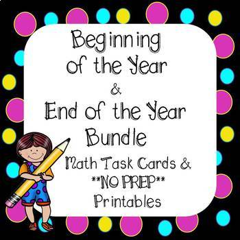 4th Grade Beginning & End of the Year Task Cards and Printables *Bundle*